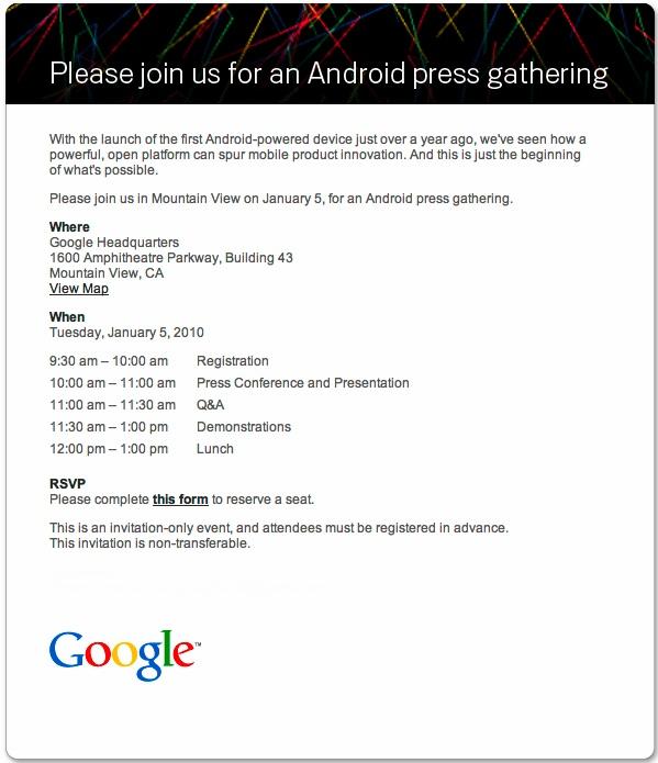 Zaproszenie na androidowy event Google'a 5 stycznia
